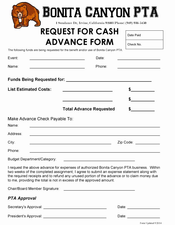 Request for Funds Template Best Of Cash Advance Bonita Canyon Pta