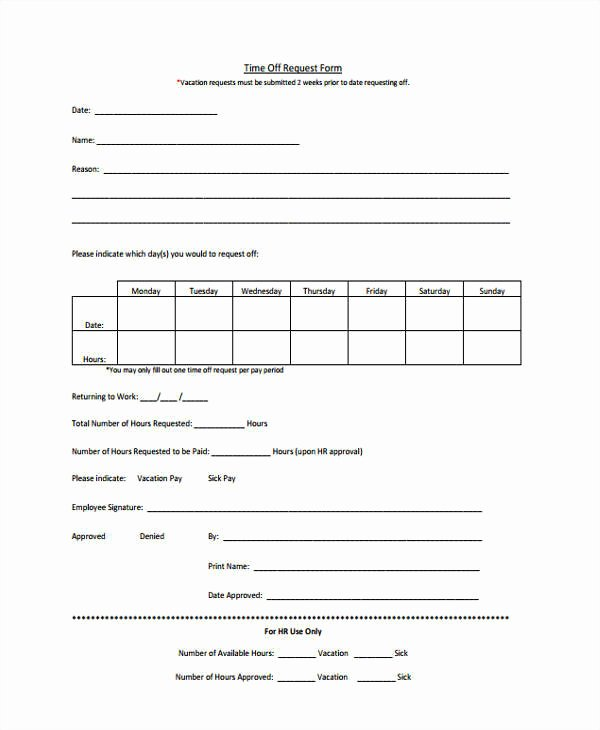 Request Off forms Templates Awesome 24 Time F Request forms In Pdf