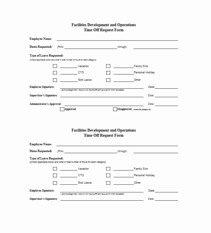 Request Off forms Templates Beautiful 40 Effective Time F Request forms & Templates