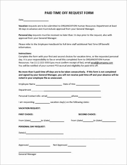 Request Off forms Templates Best Of Employee Vacation Leave Request and Pto forms