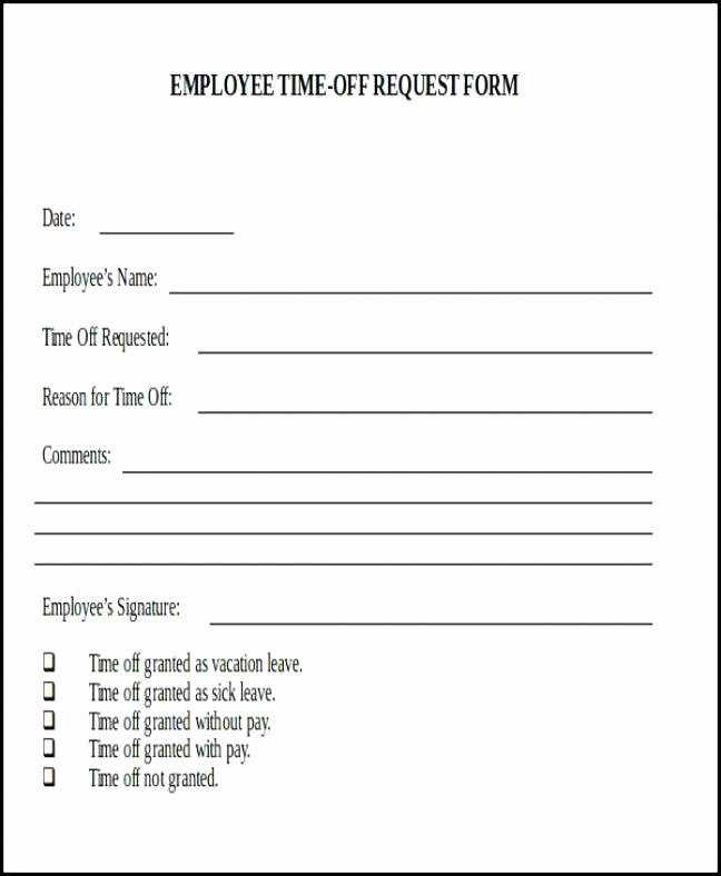 Request Off forms Templates Best Of Request Day F form
