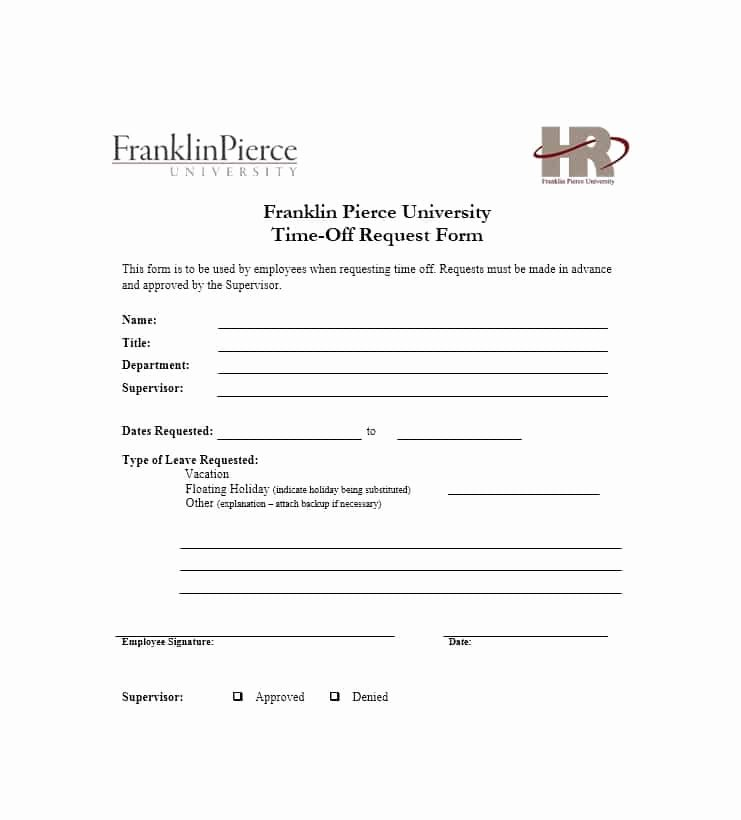 Request Off forms Templates Elegant 40 Effective Time F Request forms & Templates