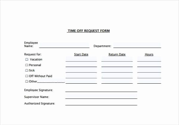 Request Off forms Templates Elegant Time F Request forms Word Excel Fomats