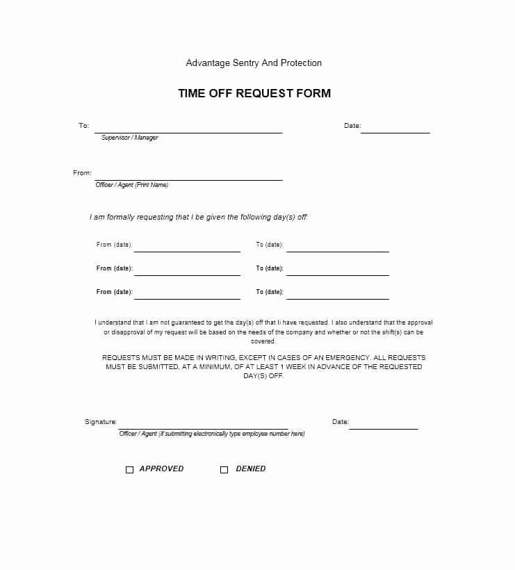 Request Off forms Templates Fresh 40 Effective Time F Request forms & Templates
