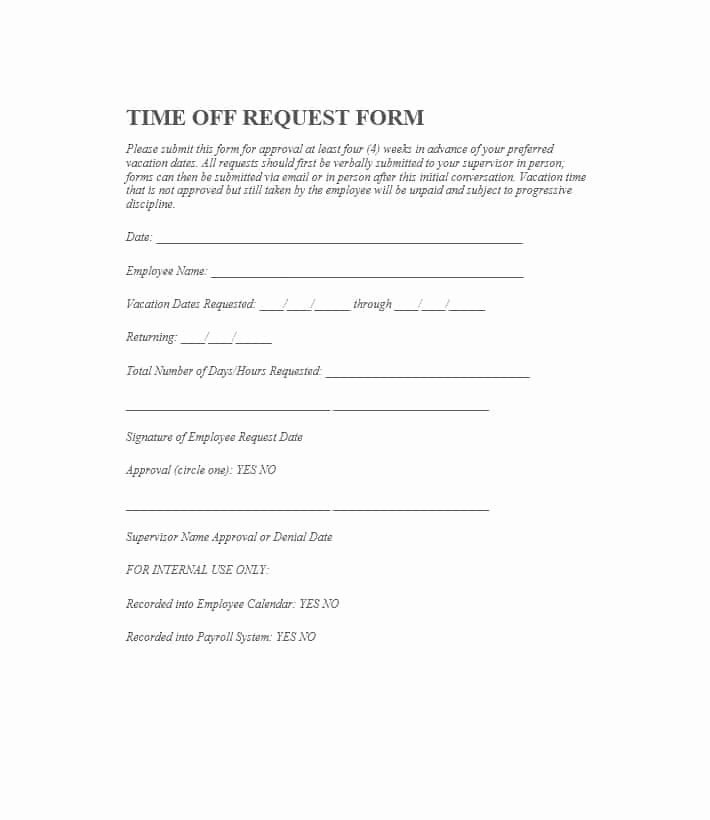 Request Off forms Templates Luxury 40 Effective Time F Request forms & Templates