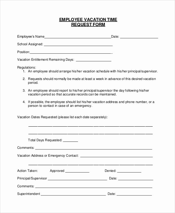 Request Off forms Templates Unique Sample Vacation Request form 8 Examples In Pdf Word