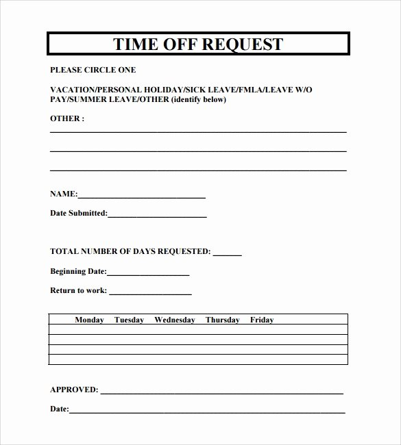Requesting Time Off Template Awesome Sample Time F Request form 23 Download Free Documents