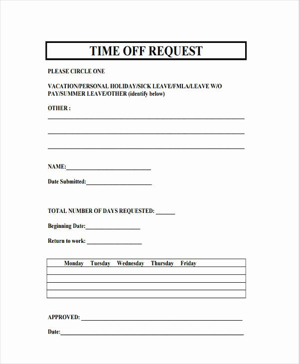 Requesting Time Off Template Best Of 13 Free Time F Request forms