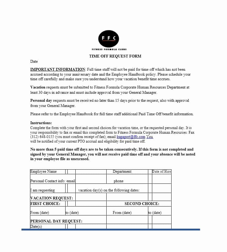 Requesting Time Off Template Best Of 40 Effective Time F Request forms & Templates