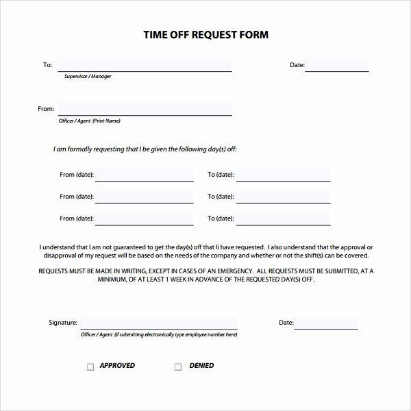 Requesting Time Off Template Luxury Sample Time F Request form 23 Download Free Documents