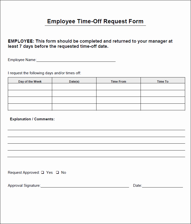 Requesting Time Off Template New Employee Time F Request form
