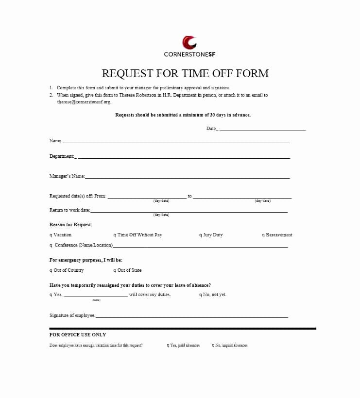 Requesting Time Off Template Unique 40 Effective Time F Request forms & Templates