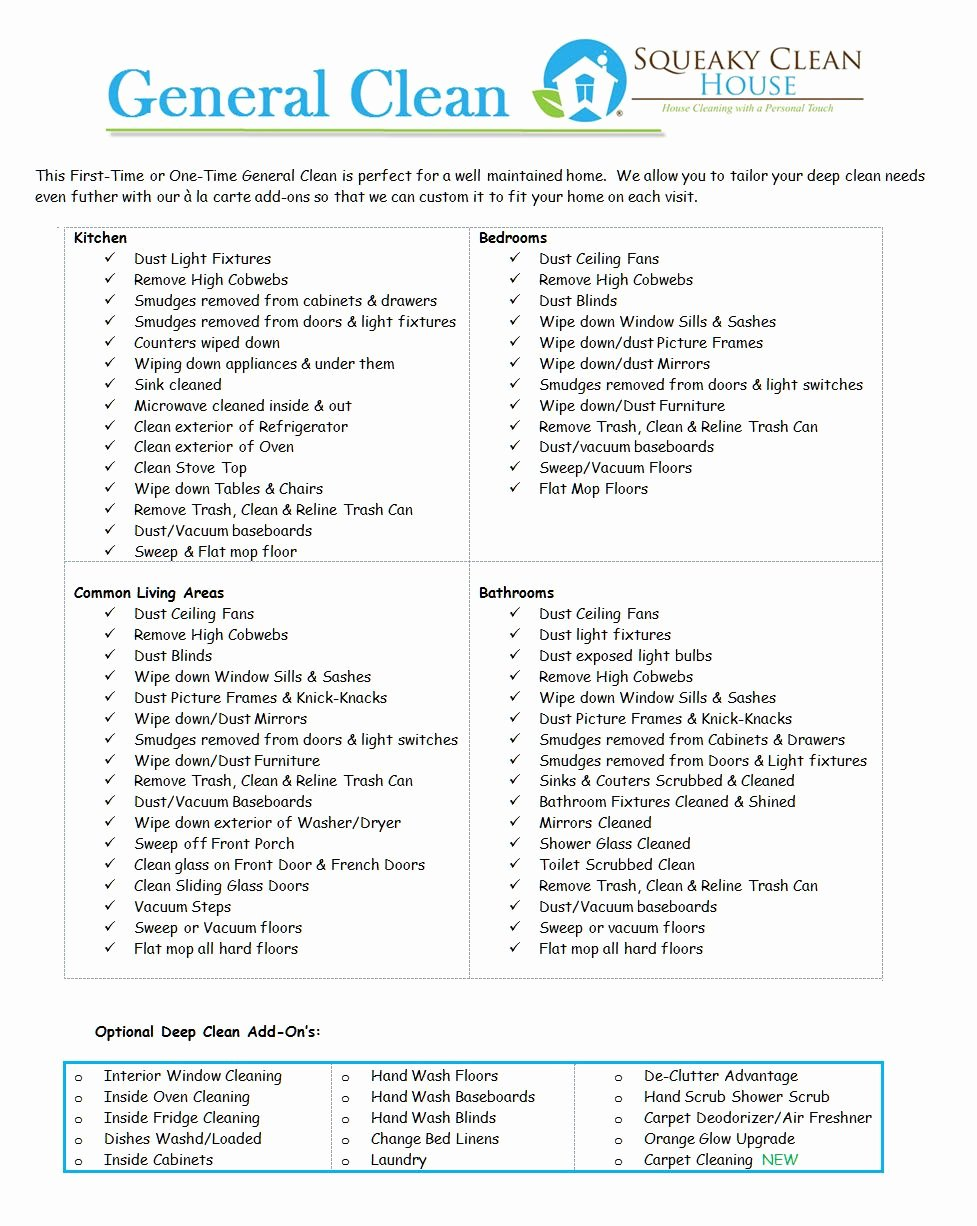 Residential Cleaning Checklist Template Awesome General Clean Image Home Pinterest