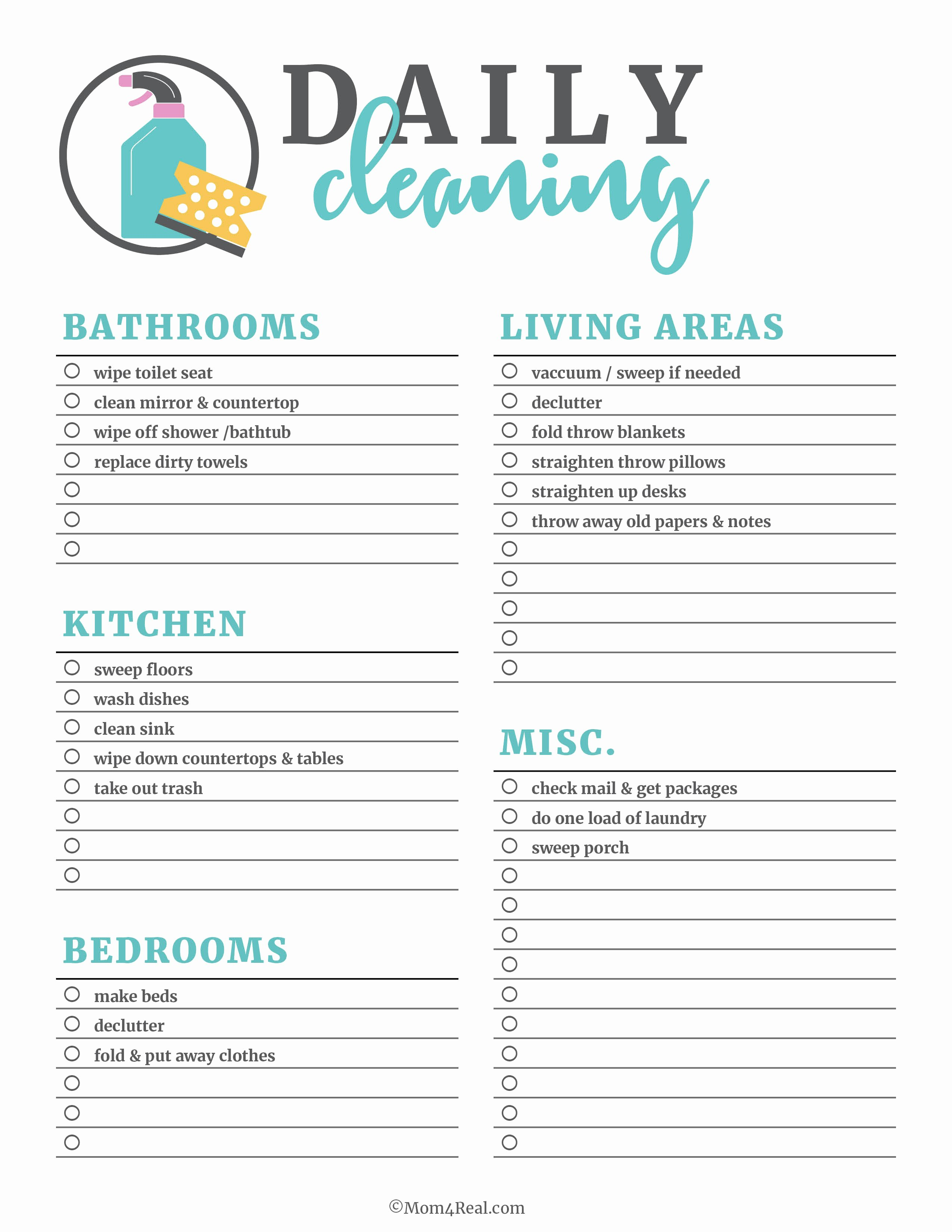 Residential Cleaning Checklist Template Fresh Printable Cleaning Checklists for Daily Weekly and