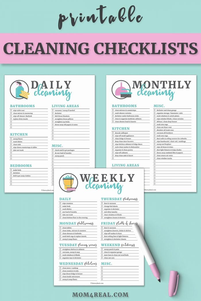 Residential Cleaning Checklist Template Inspirational Printable Cleaning Checklists for Daily Weekly and