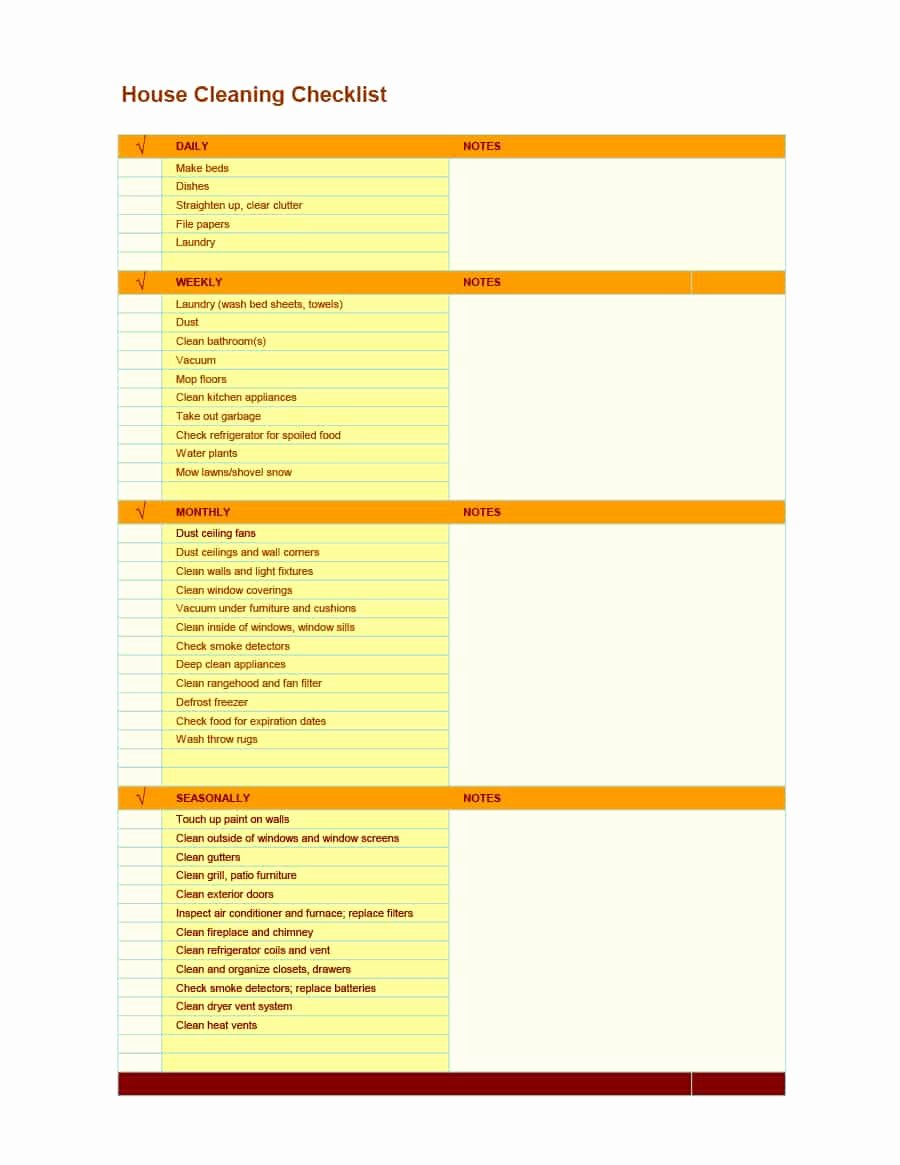 Residential Cleaning Checklist Template Unique 40 Printable House Cleaning Checklist Templates Template Lab