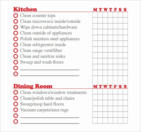 Residential Cleaning Checklist Template Unique Sample House Cleaning Checklist 12 Documents In Pdf Word