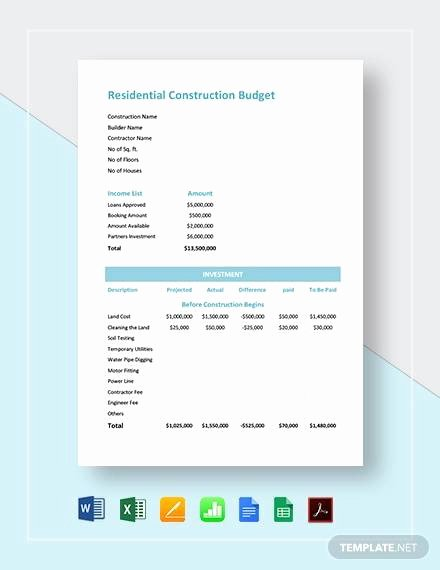 Residential Construction Budget Template Excel Awesome Free 12 Construction Bud Samples In Google Docs