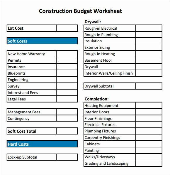 Residential Construction Budget Template Excel Beautiful Residential Construction Bud Template Excel