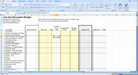 Residential Construction Budget Template Excel Elegant Renovation Construction Bud Spreadsheet Implementing