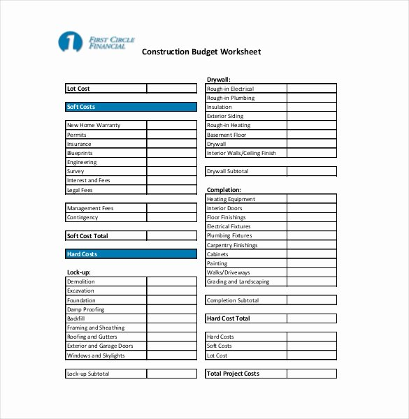 Residential Construction Budget Template Excel Fresh 13 Construction Bud Templates Docs Pdf Excel