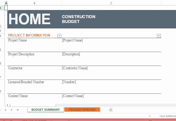 Residential Construction Budget Template Excel Inspirational Home Construction Bud Template for Excel