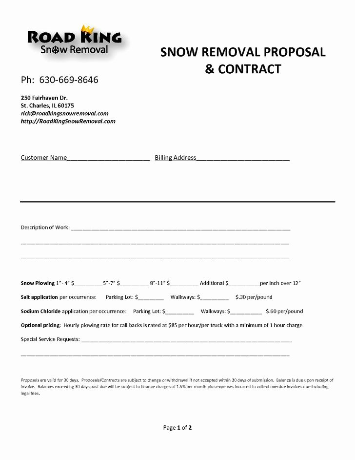 Residential Snow Removal Contract Template Elegant 20 Snow Plowing Contract Templates Free Download