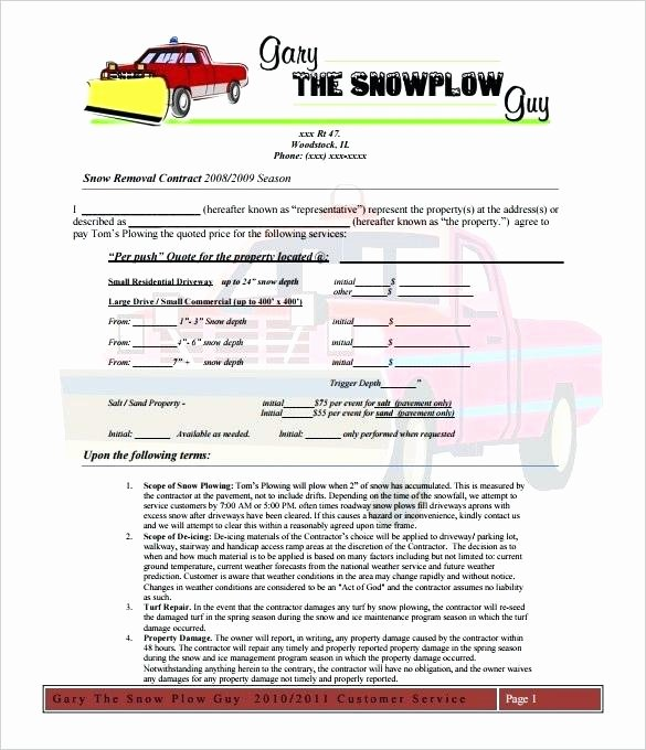 Residential Snow Removal Contract Template Fresh Snow Removal Quote Template – Montblancballpenfo