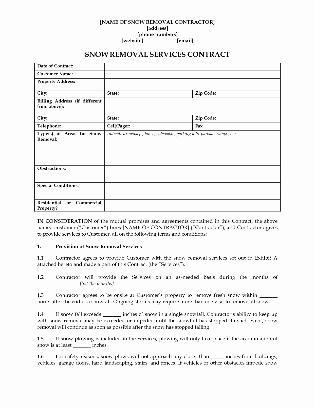 Residential Snow Removal Contract Template Luxury Snow Removal Contracts Templates – Emmamcintyrephotography