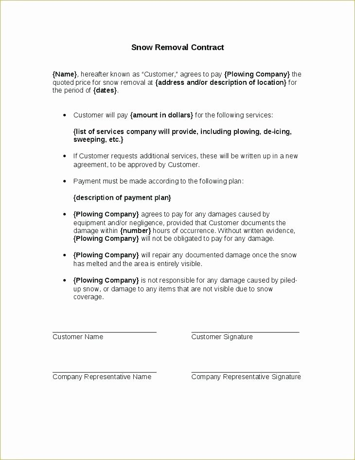 Residential Snow Removal Contract Template Unique Snow Plow Contract Template 2199