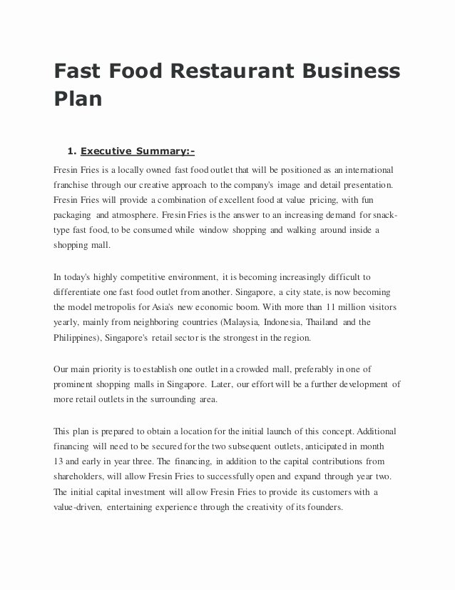 Restaurant Business Plan Template Free Best Of Fastfoodrestaurantbusinessplan Conversion Gate02
