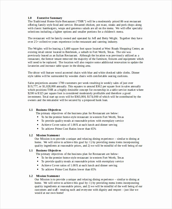 Restaurant Business Plan Template Free Best Of Restaurant Business Plan 22 Pdf Word Google Docs