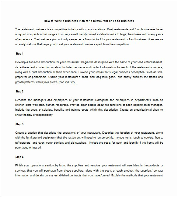 Restaurant Business Plan Template Free Fresh Restaurant Business Plan Template 21 Word Excel Pdf