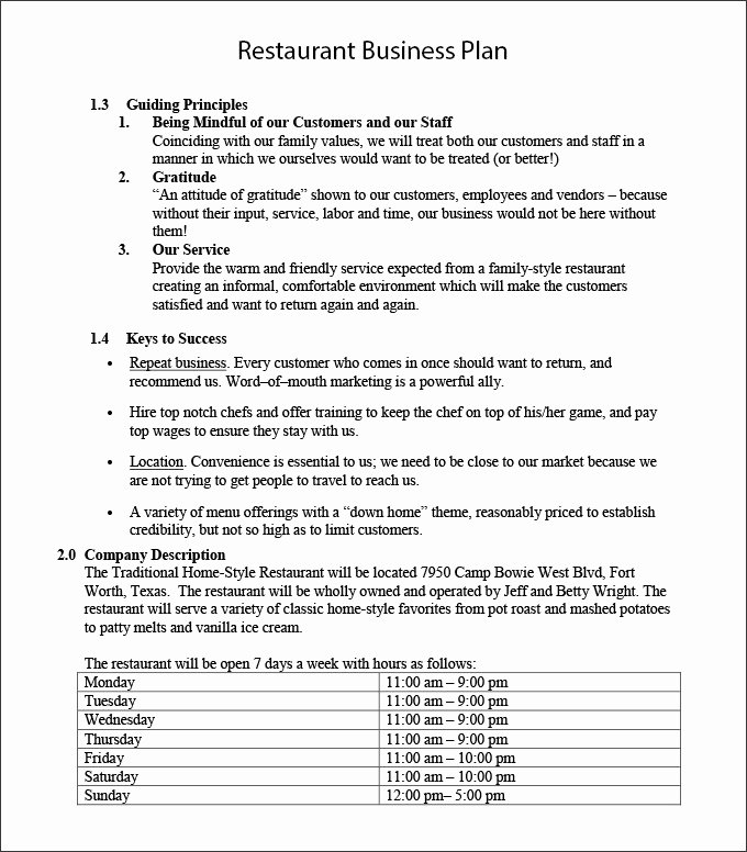 Restaurant Business Plan Template Free Inspirational Restaurant Business Plan Template 22 Word Pdf Google