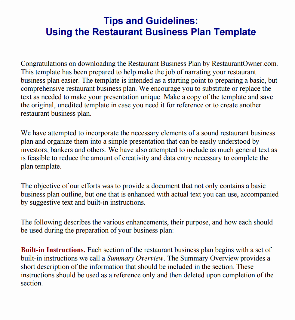 Restaurant Business Plan Template Free Inspirational Tips and Instructions Using the Restaurant Business Plan