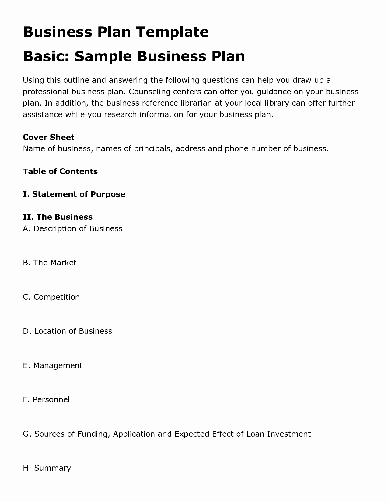 Restaurant Business Plan Template Free Luxury Free Printable Business Plan Template form Generic