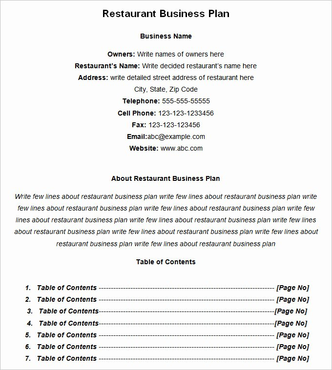 Restaurant Business Plan Template Free Unique Restaurant Business Plan Template 13 Free Pdf Word