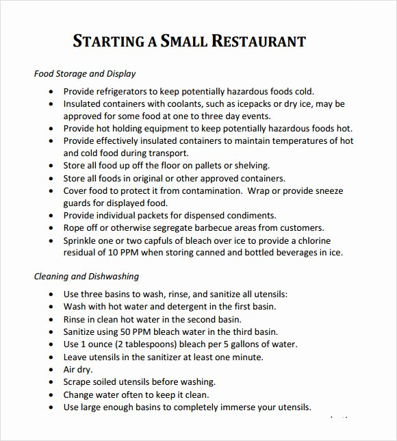 Restaurant Business Plan Template Free Unique Restaurant Business Plan Template 7 Download Free