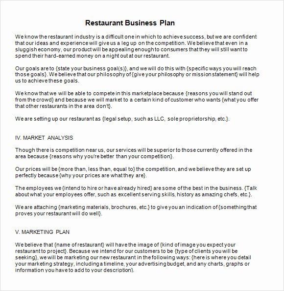 Restaurant Business Plan Template Word Fresh Free 20 Sample Restaurant Business Plan Templates In