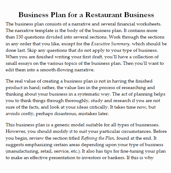 Restaurant Business Plan Templates Free Elegant 32 Free Restaurant Business Plan Templates In Word Excel Pdf