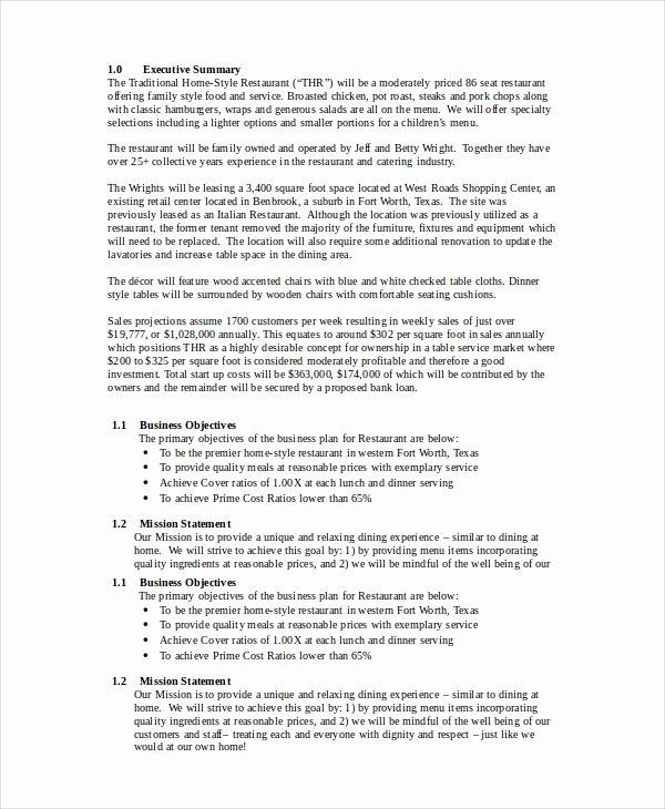 Restaurant Business Plan Templates Free Inspirational Restaurant Business Plan 22 Pdf Word Google Docs