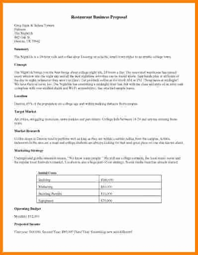 Restaurant Business Proposal Template Beautiful 7 Proposal Template Doc