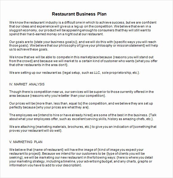 Restaurant Business Proposal Template Inspirational Free 20 Sample Restaurant Business Plan Templates In