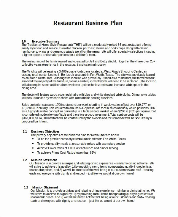 Restaurant Business Proposal Template New 13 Business Plans Free Sle Exle format Free