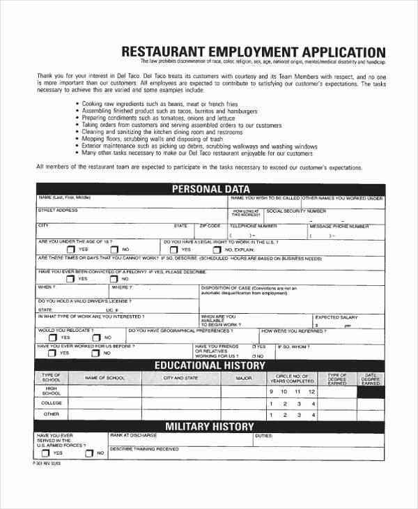 Restaurant Job Application Template Elegant Free 35 Free Job Application form Templates In Pdf