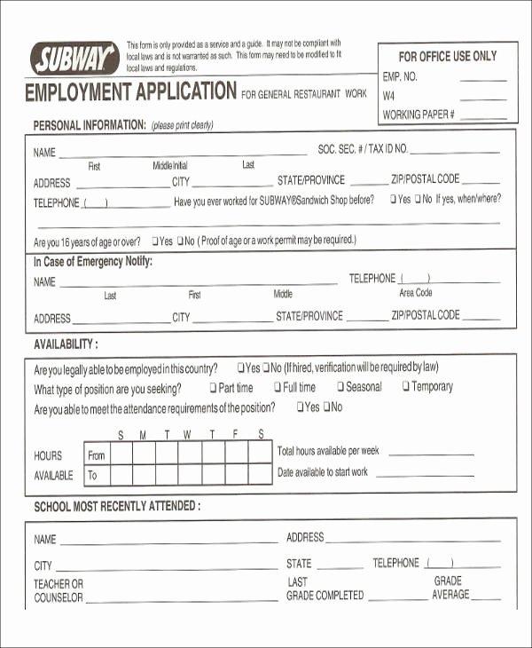 Restaurant Job Application Template Fresh 49 Job Application form Templates