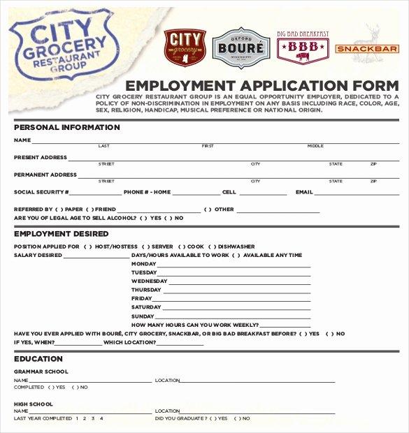Restaurant Job Application Template Inspirational 10 Restaurant Application Templates – Free Sample