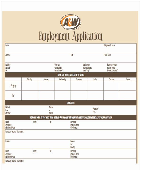 Restaurant Job Application Template Lovely 49 Job Application form Templates