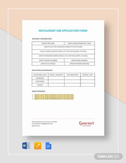 Restaurant Job Application Template Luxury Free English Teacher Job Application Letter Template