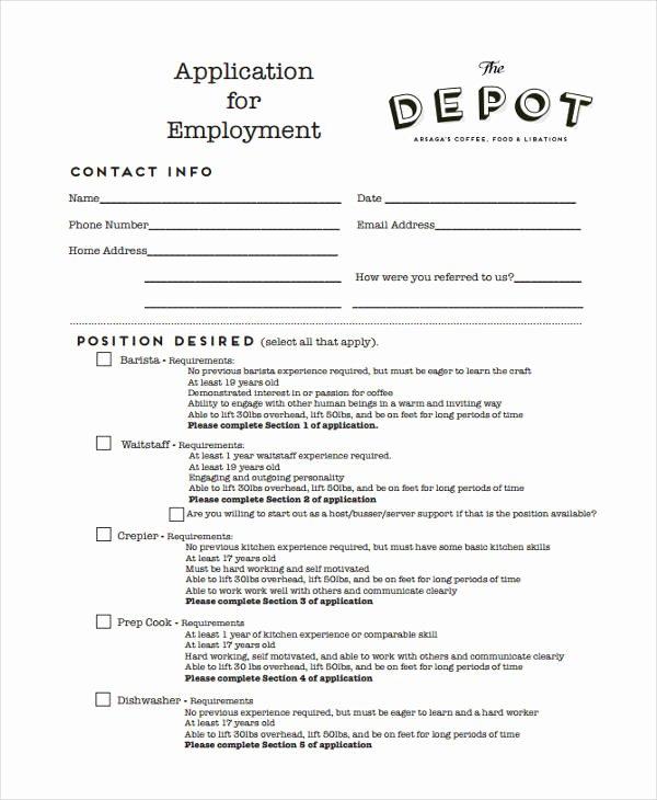 Restaurant Job Application Template New 33 Job Application Templates